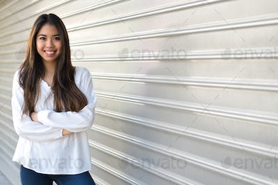 happy pretty 20s young woman student smiling