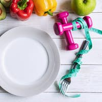 Healthy eating food with empty dish and copy space, Diet plan concept, Top view