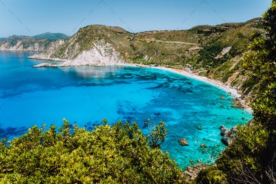 View to Petani bay with transparent crystal clear blue azure mediterranean sea water in beautiful