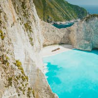 Navagio beach Zakynthos. Shipwreck bay with turquoise water and white sand beach. Famous marvel