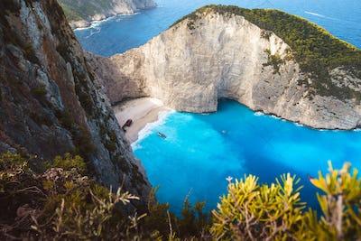 Greece, Zakynthos, Mystic stranded panagiotis freightliner in navagio beach in dawning mood