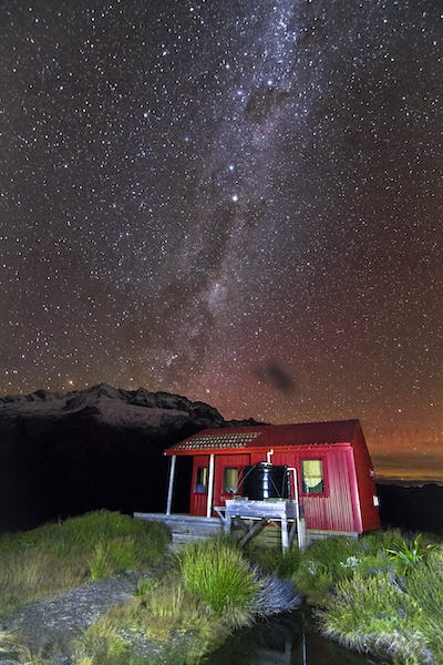 Stars and the Milky Way Galaxy Over Liverpool Hut in New Zealand