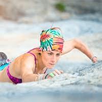 Woman in sport climbing