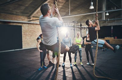 Men climbing thick rope during fitness exercises
