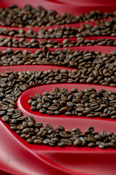 Coffee beans on a relief red background.