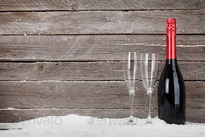 Christmas greeting card with champagne bottle