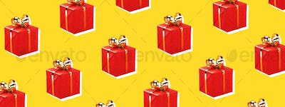 Pattern with Red Gift Boxes on Yellow Background.