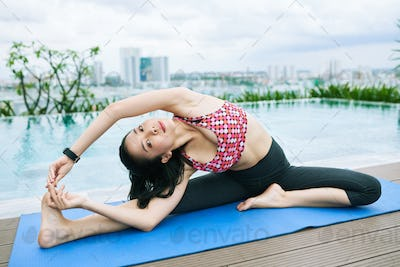 Doing stretching exercise