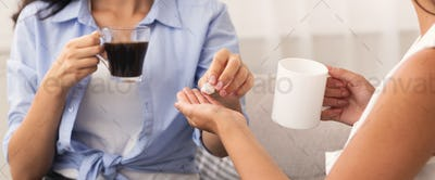 Two Unrecognizable Women Adding Sugar Drinking Coffee Indoor, Panorama
