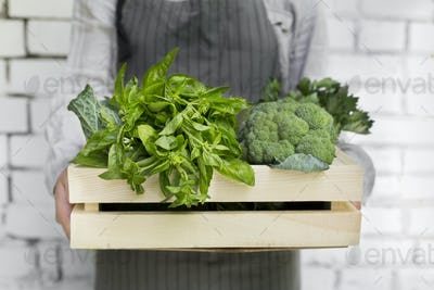 Woman holding Organic and eco green vegetables inside box