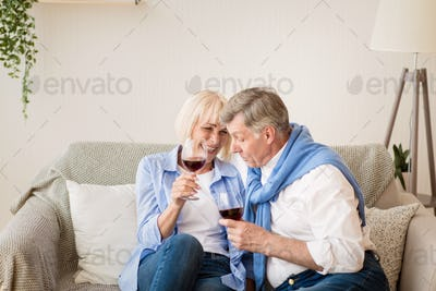 Celebrate anniversary. Happy senior couple drinking wine at home