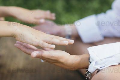 Healing Hands. Spiritual Healer Working with Client, Transferring Energy