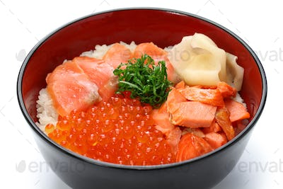 japanese rice bowl topped with salmon & salmon roe