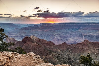 The Grand Canyon in Arizona, USA at sunset.