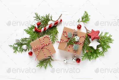 Christmas, New Year or Noel holiday festive winter greeting card with decorations, gifts