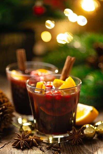 Christmas, New Year, Xmas or Noel mulled wine with decorations