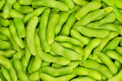 Edamame, green soybeans in the pod, background