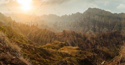 Breathtaking sunset over colorful mountain landscape at Delgadim viewpoint. Santo Antao Cape Verde