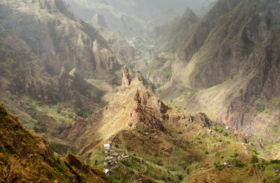 Santo Antao, Cape Verde. Mountain peak in arid Xo-Xo valley. Scenic impressive landscapes of