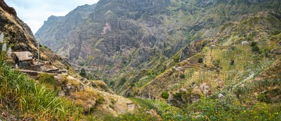 Panoramic view of the fertile ravine valley with its agricultural terraces on Santa Antao island in