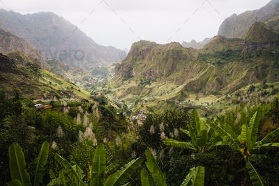 Cape Verde. Gorgeous view of famous fertile Paul Valley. Agriculture terraces of sugarcane in