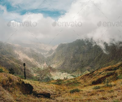 Panoramic view of the mountain valley of Santa Antao island in Cape Verde. Big clouds moving over