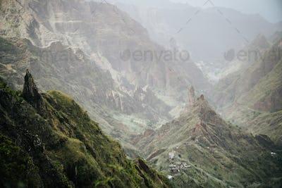 Dreamlike atmosphere in the fertile Xo-xo valley. Scenic landscape of bluff green mountain slopes