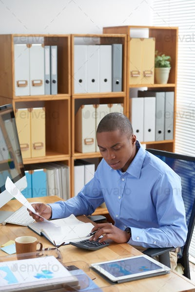 Businessman working with financial documents