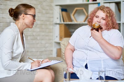 Obese Woman Consulting about   Eating Disorder