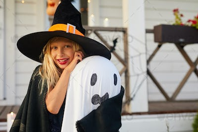 Smiling Little Witch on Halloween