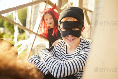 Smiling Little Bandit on Halloween