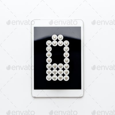 Conceptual Image Of Battery Charge Level Pictogram On Tablet Computer