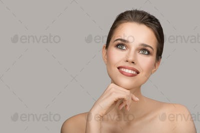 Portrait Of Young Woman. Perfect Clean Skin And Beautiful Smile.