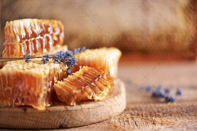 Fresh honeycombs pieces, dry lavender flowers on wooden background. Autumn harvest concept