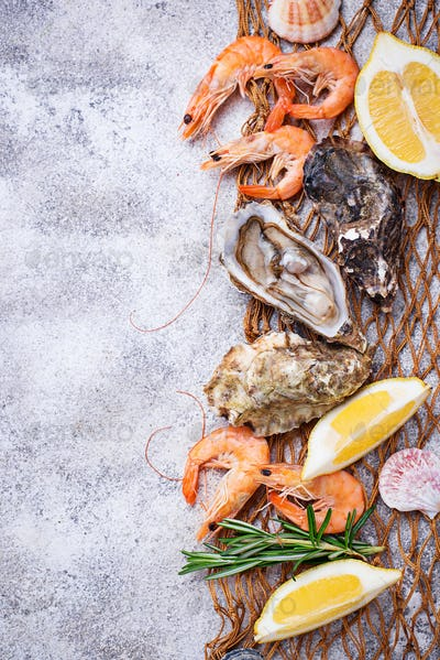 Shrimps and oysters. Seafood concept