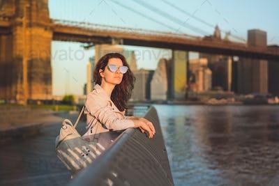 Young girl at the Brooklyn Bridge