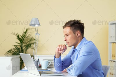 Businessman concentrated on work