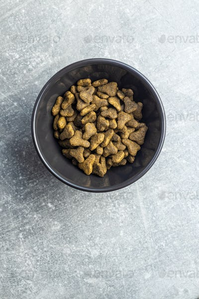 Dry pet food. Kibble dog or cat food.