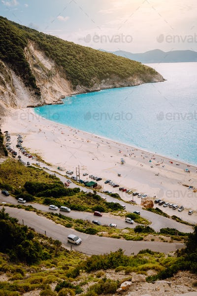 Serpentine road lead to Famous Myrtos Beach. Most visited place on Kefalonia during cruise travel