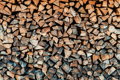 Chopped firewood logs as background
