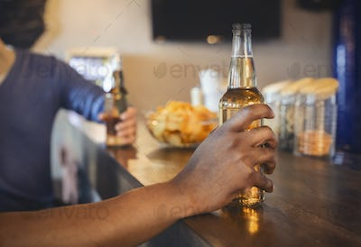 Crop shot of friends with beer bottles and chips