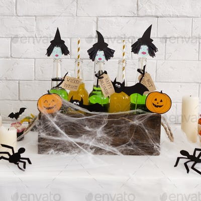 Close up of funny Halloween background with three witches