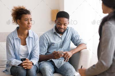Sad Afro Woman Complaining Psychologist About Husband Indifference In Office