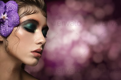 Close Up Portrait Of Beautiful Woman Face With Bright Make Up