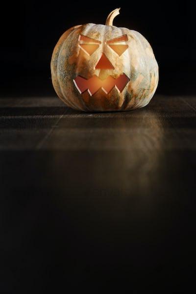 Halloween Pumpkin  latnern in the dark room