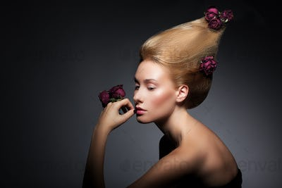 Fashion Model with Flowers