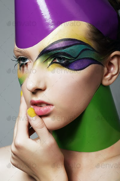 Woman's face with theatrical makeup