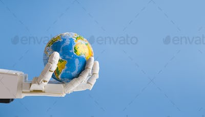 Robot holding Earth globe in hand, blue panorama background