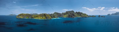 Breathtaking aerial panorama of tropical paradise Miniloc Island, El Nido, Palawan, Philippines
