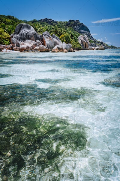 Shallow water with algal plants in front of unique Anse Source D'Argent tropical beach, La Digue